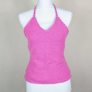 Lilly Pulitzer Pink Crochet Knit Tie Halter Top